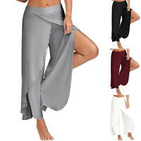 Women Trousers Solid Palazzo Wide Leg High Waist Long Loose Casual Pants
