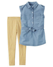 Carters Size 5 Chambray Tunic & Printed Legging Set Girls Clothes Outfit