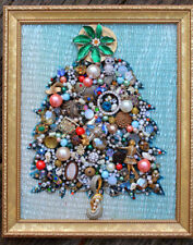 Vintage Jewelry Lot Christmas Tree Framed Wall Art Heirloom Gift Rhinestone Gold
