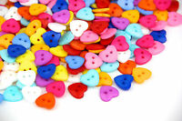 50pcs Mixed Colors 2-Hole Heart Sewing Crafts Scrapbooking Plastic Buttons 13mm