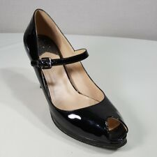 Cole Haan Sz 7 1/2 Peep Toe Pumps Black Mary Jane Patent Leather Heels Buckle