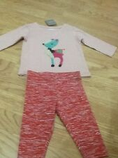 Brand New Next Baby Girl Size 3-6 Months - Pink Deer Top & Red Flecked Leggings