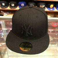 New Era 59FIFTY New York Yankees Fitted Hat Cap All Black/Grey Bottom