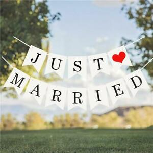 Just Married Wedding Bunting - Mr and Mrs Party Heart Banner Decorations Banners