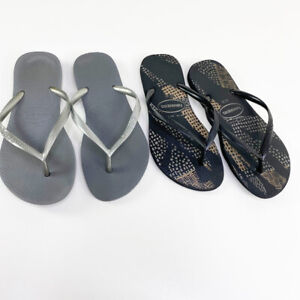 2 Sets Havaianas Women's Black Gray Slipper Slim Flip Flops Thong Slippers 7&8