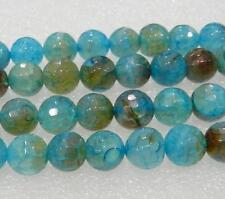 """Charming 8mm Faceted Blue Dragon Veins Agate Round Loose Bead 15"""" AAA"""