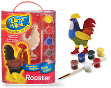 Wood painting craft kit ROOSTER brush and paints Brand New from Works of Ahhh