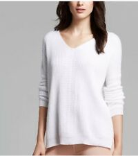NWT Vince Directional V Neck Sweater Bright White XXS/X Extra Small $295