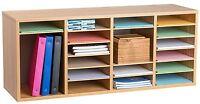 AdirOffice Wood Oak 24 Compartment Adjustable Literature Organizer