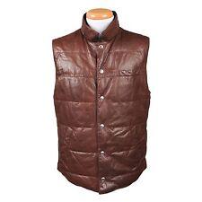 Brunello Cucinelli Leather Reversible Goose Down Puffer Vest Coat Size XXL NEW