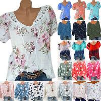 Women Boho Floral Short Sleeve Loose Top T Shirt Blouse Summer Casual  Plus Size