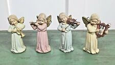 Antique (4) Paper Mache Angel Ornaments w/Musical Instruments~ W Germany Us Zone