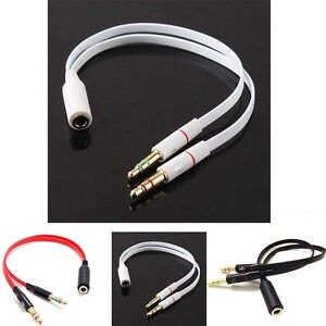 3.5mm Headphone Mic Audio Y Splitter Cable Female to Male Dual Convertor 3color
