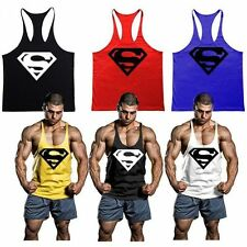 Mens Superman Gym Singlet Tank Top Tee Stringer Bodybuilding Muscle Fitness Vest