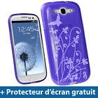 Étui Housse TPU Gel Pourpre motif Papillons pour Samsung Galaxy S3 III i9300
