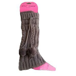 Betsey Johnson Betseyville Pom Pom Leg Warmers NWT $35 Socks Gray Cable Knit