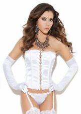 "Elegant Moments White Satin Corset with Thong Set Size 34"" 10"