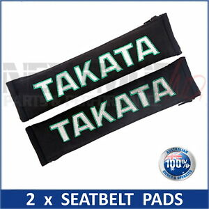 2 x JDM TAKATA BLACK SEAT BELT HARNESS COMFORT PAD, Pair, Bride, Harness, NEW