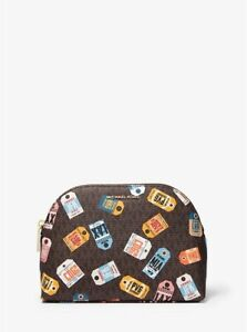 MICHAEL KORS MK Jet Set Large Printed Logo Travel Pouch Brown Luggage Bag New