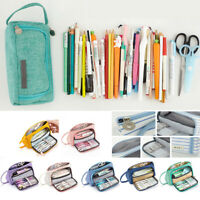 Large Pen Pencil Bag Case Zip Solid Color Large Capacity School  Cosmetic  Bag