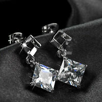 18k white gold GF made with swarovski crystal wedding ladies stud earrings