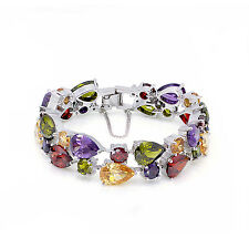 "65% Off CHARM Peridot Morganite Amethyst Garnet 925 Sterling Silver Bracelet 7"""