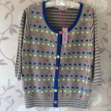 Per Una Size 22 Cotton Cardigan Blue Grey Spot NEW