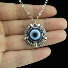 "18"" Silver Women Turkish Round Cords Blue Acrylic Evil Eye Collar Chain Necklace"