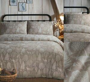 Winter Forest Linen Colour Brushed Cotton Christmas Duvet Cover Sets,FREE P&P