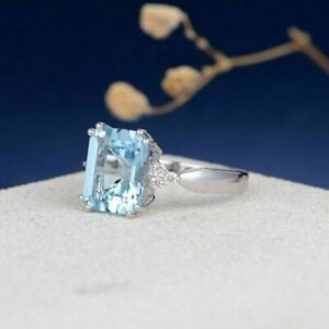 3Ct Emerald Aquamarine Diamond Solitaire Engagement Ring In14K White Gold Finish