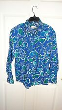 WOMENS EASSY LONG SLEEVE BUTTON UP SHIRT SIZE LARGE MULTI COLORS BEACH SHELLS