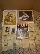New ListingVintage 30's/40's Autographed Yehudi Menuhin Photograph,Violinist,1951 Program