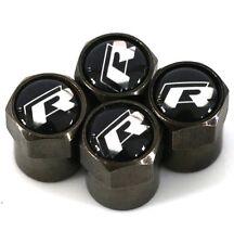 VW Carbon Black Logo R Line Car Wheel Tyre Valve Dust Caps x4 Polo Golf Toureg