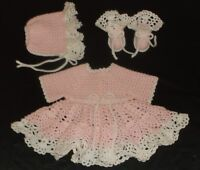 PINEAPPLE BABY DRESS SET HAND CROCHET PINK & WHITE NEWBORN TO 3 MONTH SIZE