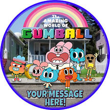 """A 7.5"""" Round Gumball Personalised Cake Topper ICING"""