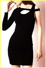 NWT MINKPINK BLACK SUPERSTITIONS CUT OUT ONE SLEEVE STRETCH LBD MINI DRESS S 2 4