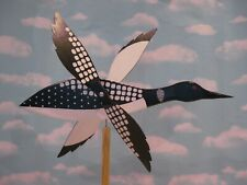 Loon bird whirligig / handmade carved wood / with mounting post / made in USA