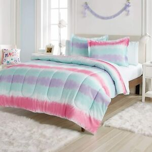 Twin Full Bed Bag Pink Aqua Blue Purple Tie Dye Striped 7 pc Comforter Sheet Set