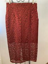 "ZARA Rust Lace Overlay Midi Pencil Skirt Size Large 32"""