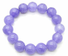 12mm 100% Natural A Grade Lavender Jade Jadeite Round Beaded Bangle Bracelet