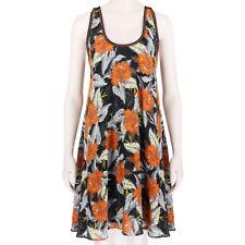 Proenza Schouler Black Orange Racerback Silk Hibiscus Dress US2 UK6