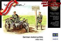 Master Box 3539 WWII German 4 figures & Motorcycle BMW R75, plastic kit 1/35