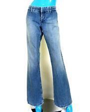Juicy Couture Distressed Wide Leg Denim Pants 30 12 L Low Rise Hippie Disco Blue