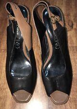 Ladies Black & Brown Sling Back Heels Size 5 Next<NH7163