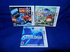 Lot of 3 Nintendo 3DS;Generator Rex Agent of Prov,Scribblenauts Unlm,Steel Diver