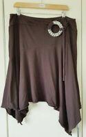 Next Women's Skirt Size 16 Brown Belted Asymmetrical Casual Summer Boho Hippie