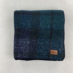 "Pendleton Home Collection Green Plaid Throw Blanket  50""X70"" Black Reverse Side"