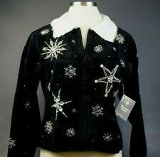 NEW! Christopher Radko Christmas Cardigan Sweater Black orig. $199  Large
