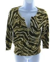 Jones New York Brown and Ivory Animal Print V Neck Sweater Casual Size Small
