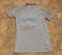 MENS OAKLEY TEE SHIRT T-SHIRT SIZE SMALL - Gray Red White Blue